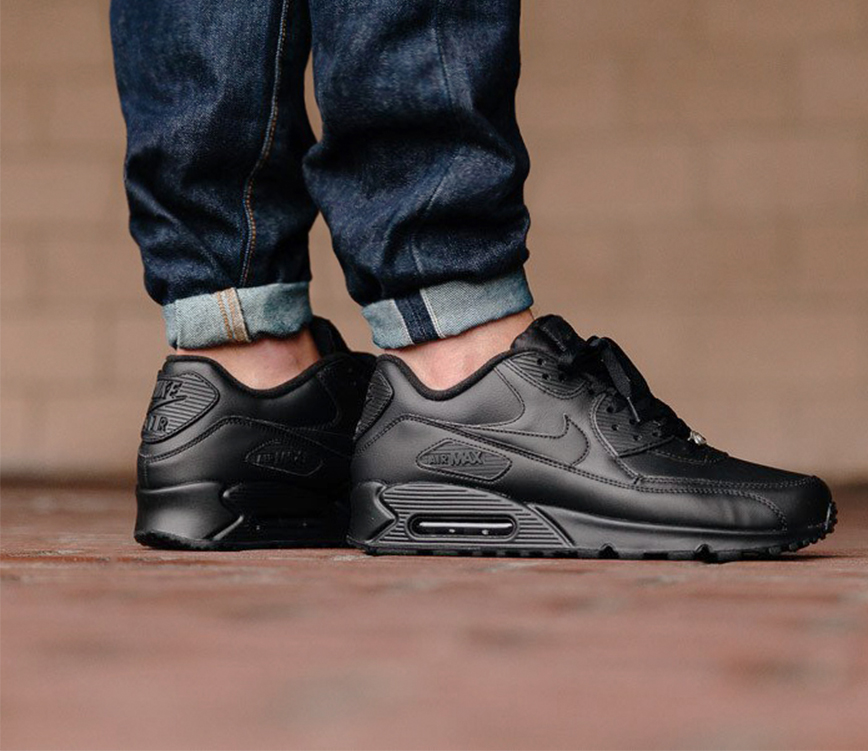 Chaussures NIKE Air Max 90 Leather 302519 001 BlackBlack