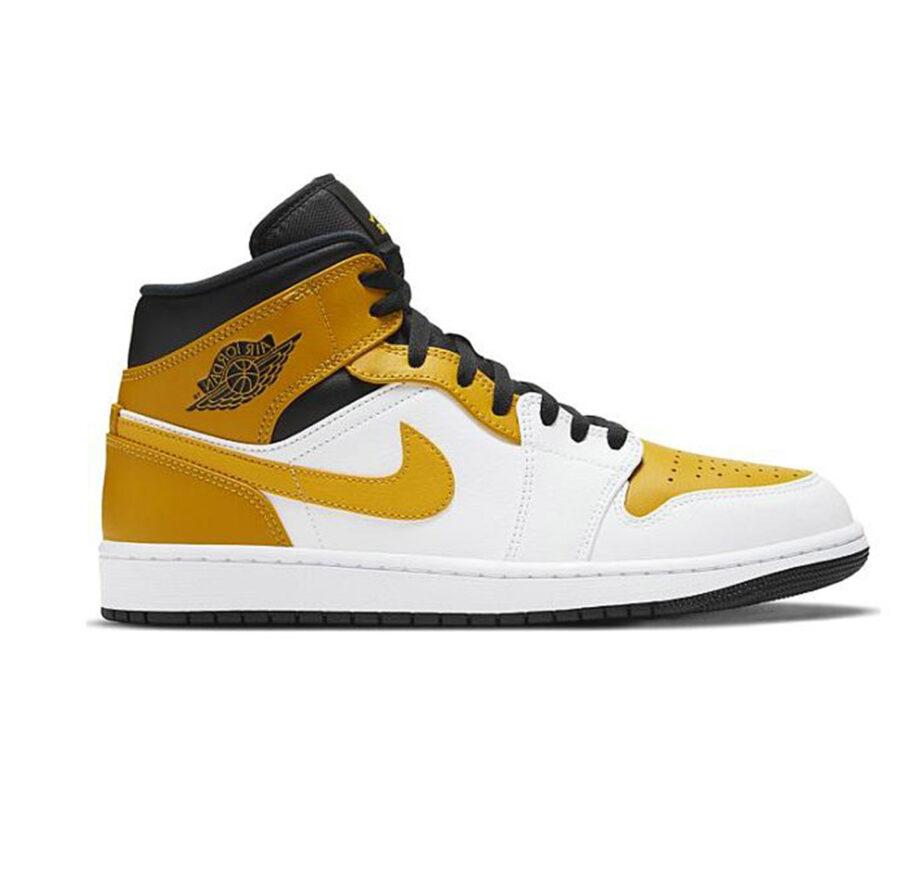 web1-hoodshop-air jordan Air Jordan 1 Mid University Gold White Black Shoes 554724-170